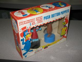 Huckleberry Hound Mr Jinks 1960s Kohner Push Puppet Playset MIB Hanna