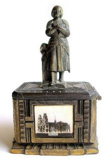 Jeanne D Arc Joan of Arc Metal Bank Art Deco c1920 France French