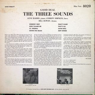 Three 3 Sounds Good Deal LP Blue Note BLP 4020 US 1959 47 w 63rd RVG
