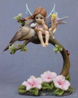 JODY BERGSMA BEAUTIFUL WORLD LITTLE BABY FAIRY & BIRD FIGURINE STATUE