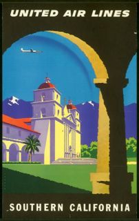 Travel Poster United Airlines Southern California Joseph Binder