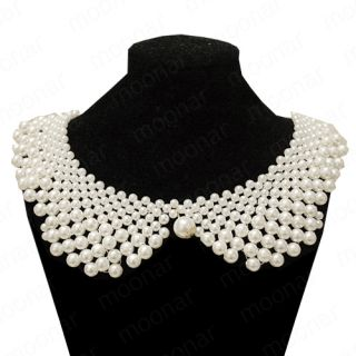 Japan Korea Sweet Girls Removable Faux Pearls Peter Pan Collar