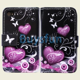 Purple Heart Style Card Slot Wallet Leather Case Cover for iPhone 4 4G