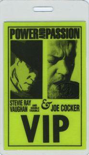 Stevie Vaughan Joe Cocker 1990 Laminated Backstage Pass