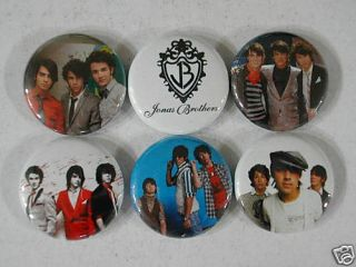 Jonas Brothers Joe Nick Kevin 6 New Pinbacks Buttons EW