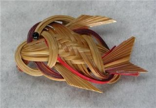 Vintage Woven Reed Fish Brooch from Blue Hawaii