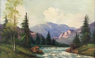 John Aubrey Speer Huge Original Oil Mountain Landscape Painting