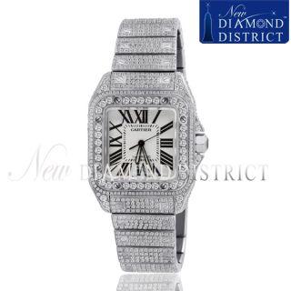 Mens 23 75ct All Diamond Cartier Santos 100 Large Stainless Steel