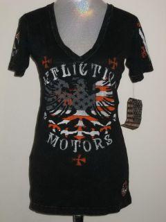 Affliction American Customs Eagle Flag Orange Vee Neck T Shirt Womens