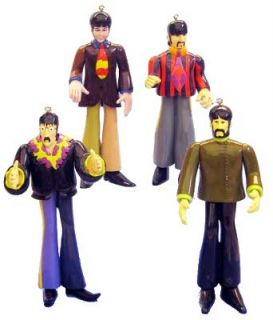 The Beatles Yellow Submarine Figural Christmas Ornament Set of 4