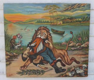 Vintage John Agnello Surrealist Folk Art Oil Painting African Lion