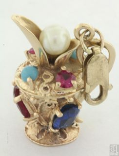 Vintage 14k Gold Multicolored Gemstone Carafe Pitcher Charm Pendant