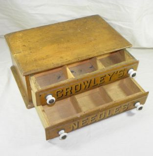 Crowleys Needles Advertising Antique Country Store Display Cabinet