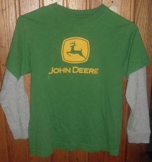John Deere Brand Boys 10 12 Green Gray Long Sleeve Shirt w Logo Name