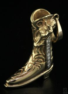 HEAVY 14K 2 TONE GOLD .15CT DIAMOND WESTERN HORSE COWBOY BOOT CHARM