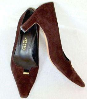 Vintage 1980s St John Brown Suede Heels Pumps Shoes Size 6M