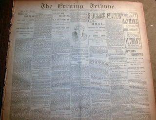 1892 Newspaper James J Corbett Defeats John L Sullivan Heavyweight