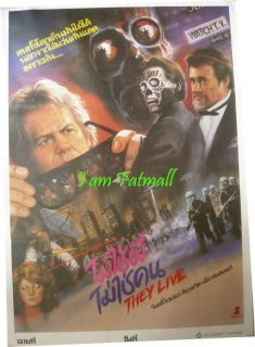John Carpenters They Live Original Thai Poster 1988 Roddy Piper