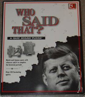 JOHN F KENNEDY WHO SAID THAT PUZZLE A QUIZ JIGSAW JFK PUZZLE VERY