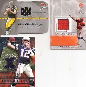 Tom Brady John Elway Ben Roethlisberger Lot of 3 Football Jersey Cards