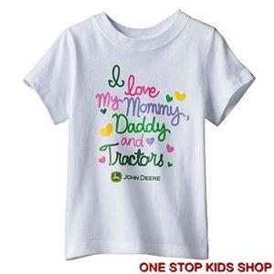 John Deere Girls 2T 3T 4T Short Sleeve Shirt Top Tractor Farm I Love