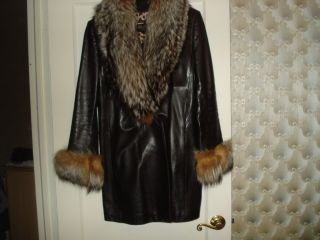 100 Authentic St John Silver Fox Leather Coat Jacket Size Medium