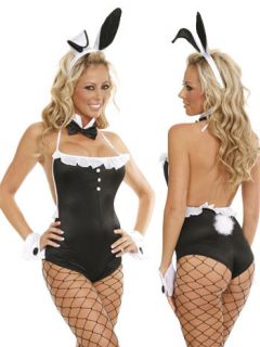 Sexy Playboy Bunny Halloween Costume Romantic Fantasy Outfit 5 PC