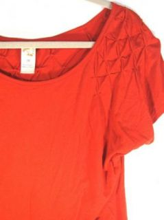 Keer Anthropologie Cute Bright Orange Red Scoop Neckline Cotton