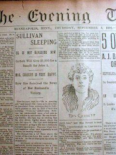 1892 Newspaper James J Corbett Defeats John L Sullivan Heavyweight Boxing Champ