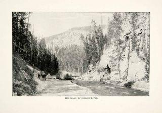 1902 Print Yellowstone National Park Gibbon River Road Street Paved Wyoming USA