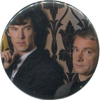 "Sherlock and John 2 25"" Pinback Button BBC Holmes Watson Freeman Cumberbatch"