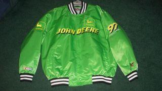 Chad Little John Deere 97 Nascar Racing Jacket Mens L Green Yellow Chase Fall