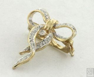 14K 2 TONE GOLD FANCY 14CT DIAMOND BOW RIBBON ENHANCER PENDANT