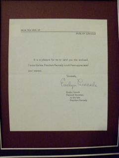 Evelyn Lincoln Pres John F Kennedy Secretary Signed Letter Framed w Photo