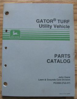 John Deere Gator Turf Utility Vehicle Parts Catalog JD