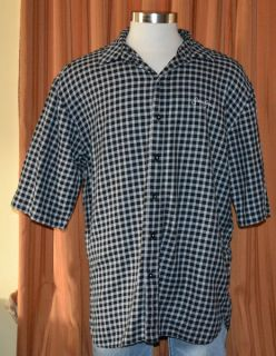 Sean John Short Sleeve Black White 100 Cotton Checkered Shirt Mens XXL 2XL