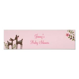 rendy Pink Deer Fores Baby Shower Banner Sign Prin from Zazzle