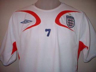 England 7 Beckham Football Soccer Shirt Jersey Med