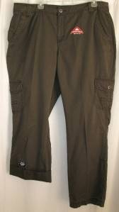 St Johns Bay Brown Comfort Waist Khaki Cargo Pants Roll UP Capris Size 20 W 20W