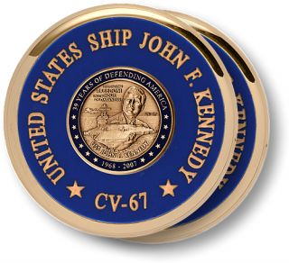 United States Navy USS John F Kennedy Brass Coaster Desk Medal 2pc Set w Base
