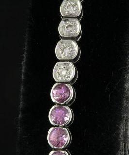 18K White Gold 3 48ctw Diamond Pink Sapphire Line Link Bracelet