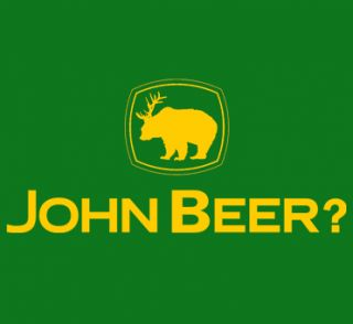 596 John Beer Tractor Funny Drinking Rude Humor Deer MMA New Womens Mens T Shirt