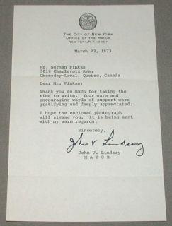 John V Lindsay New York Mayor Signed Letter