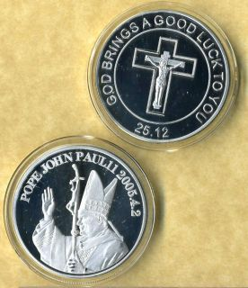 POPE JOHN PAUL II SILVER COIN GOOD LUCK NEW SV
