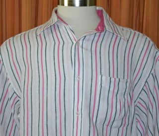 Sean John Long Sleeve White Pink Black Linen Cotton Blend Stripe Shirt Mens XL