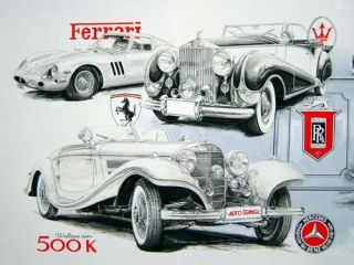 Famous Artists Paintings Print on Canvas Sketches Antique Car Ferrari and Benz 5