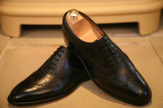 John Lobb Marshall Mens Handmade In England Black Leather Brogues Shoes UK 8 5