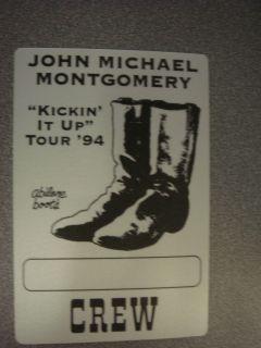 "John Michael Montgomery ""Kickin It Up"" Tour '94 Crew Silk Backstage Pass Unused"