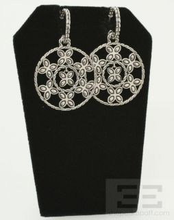 John Hardy Sterling Silver Round Floral Dangle Earrings