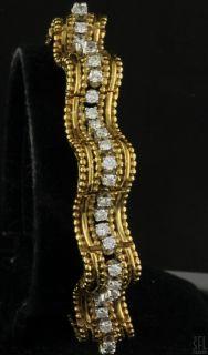 HEAVY VINTAGE 18K GOLD UNIQUE 3 78CT VS1 F DIAMOND WAVY LINK DESIGNER BRACELET